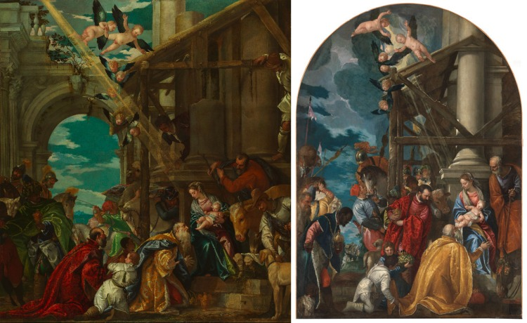 Adoration of the Kings, both versions