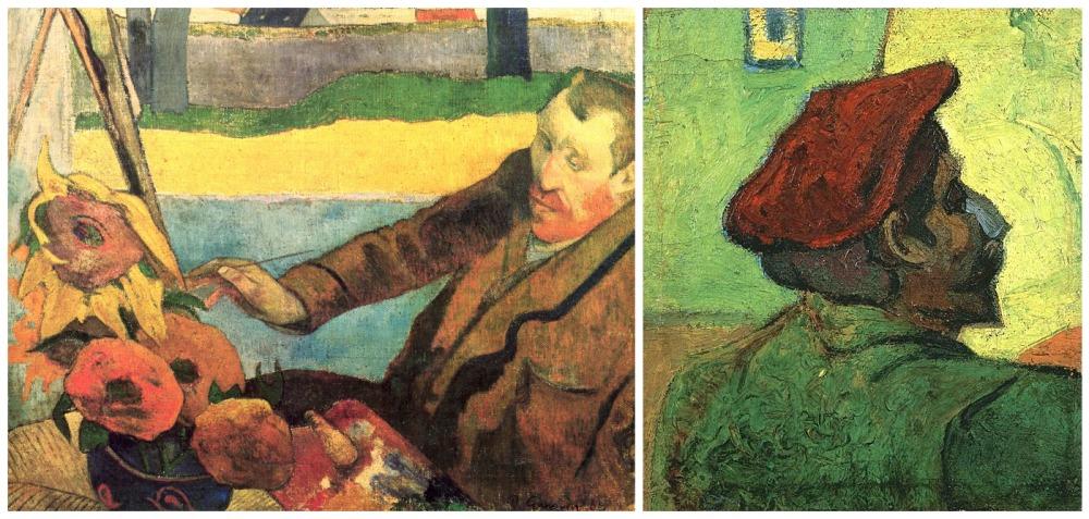 Portraits of both artists Van Gogh and Paul Gauguin