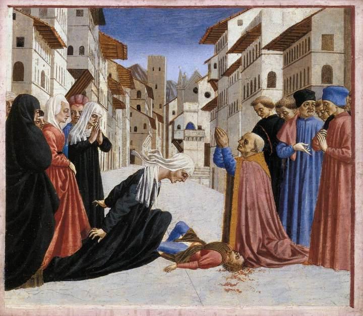 Domenico_Veneziano_-_St_Zenobius_Performs_a_Miracle_(predella_4)_-_WGA06435