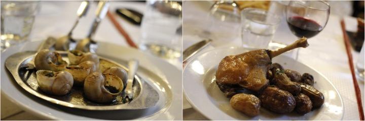 Escargots and duck confit
