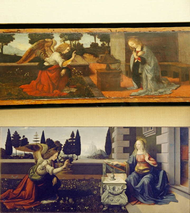 leonardo annunciation comparison