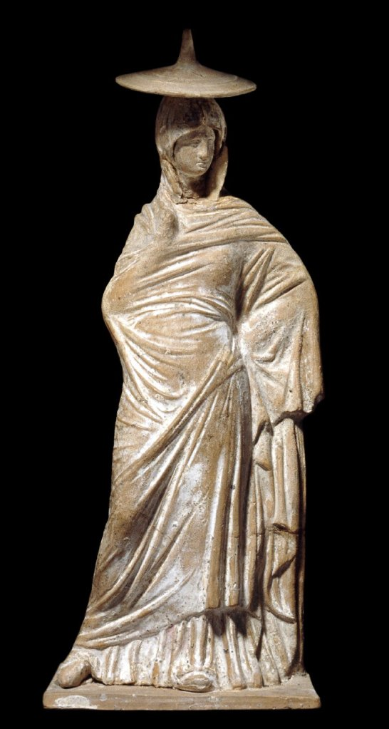 Terracotta figure of a woman, britishmuseum org