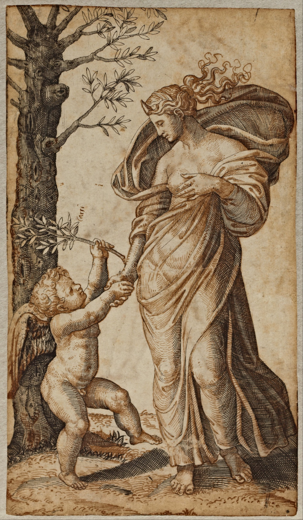 Marcantonio_Raimondi_-_Reconciliation_of_Minerva_and_Cupid_-_Google_Art_Project
