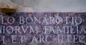 Inscription on Michelangelo's tomb. Photo: Opera di Santa Croce