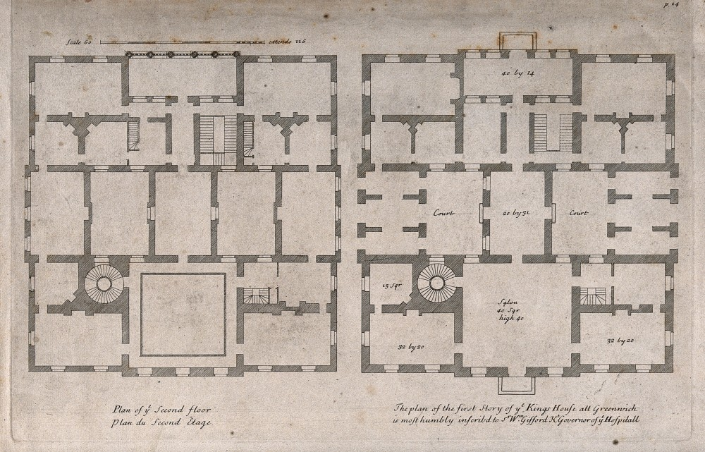 V0013360 The Queens' House, Greenwich: plans of the ground and first